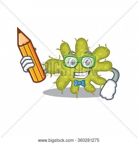 A Brainy Student Bacterium Cartoon Character With Pencil And Glasses