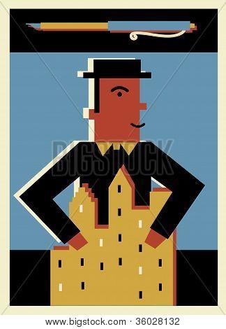 A Businessman Holding A Building