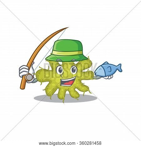 Cartoon Design Concept Of Bacterium While Fishing