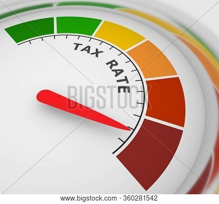 Abstract Meter Read Level Of Tax Rate Result. Color Scale With Arrow. The Measuring Device Icon. Col