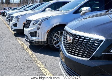 Montreal, Canada - April 4, 2020: Cadillac Xt4 Cars At Dealership. Cadillac Is A Division Of America