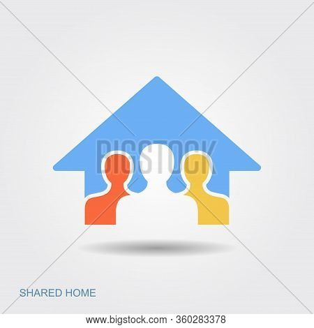 Symbol Of The Shared House. Stay At Home, Save Lives, Social Distancing Concept. Coronavirus Protect