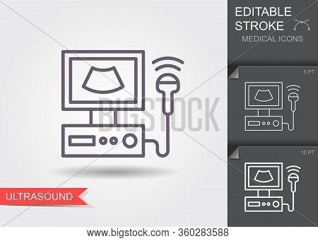 Ultrasound Scanner. Linear Medical Symbols With Editable Stroke