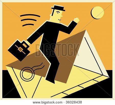 Man Taking A Ride On An Envelope
