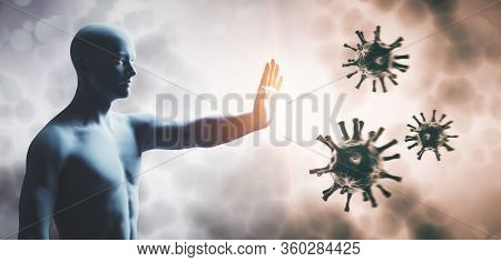 Man stopping coronavirus. Immune system defend from corona virus COVID-19. 3D render