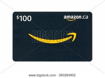 Montreal, Canada - April 6, 2020: Amazon Gift Cards. Amazon Is A Titan Of E-commerce, Logistics, Pay