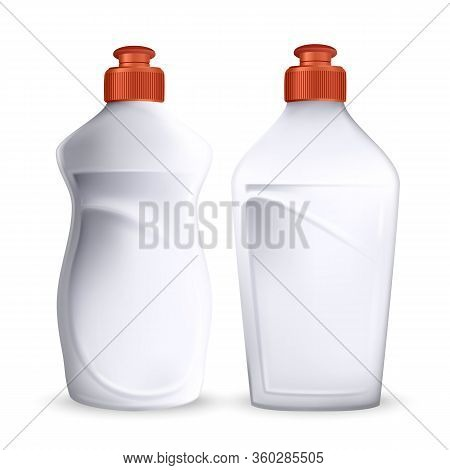 Bottle Of Dish Washing Detergent Liquid Set Vector. Blank White Plastic Containers In Different Styl