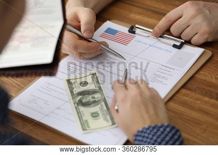 Dollars And Passport Are Visa Application Form Usa. Formation Purpose Trip. Address Delivery Documen