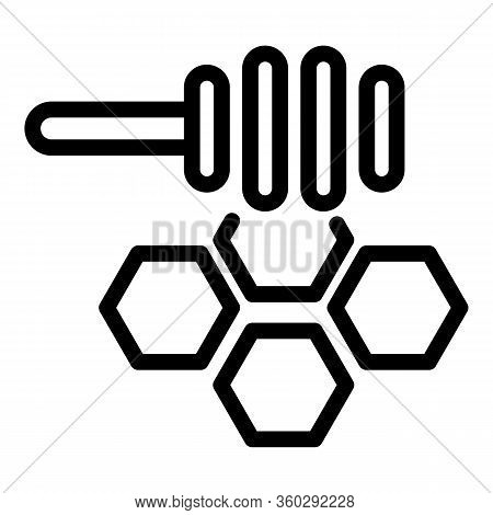 Spoon Honey Comb Icon. Outline Spoon Honey Comb Vector Icon For Web Design Isolated On White Backgro