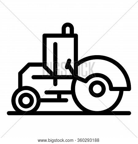 Builder Road Roller Icon. Outline Builder Road Roller Vector Icon For Web Design Isolated On White B