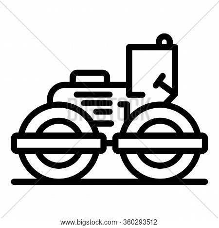 Linear Road Roller Icon. Outline Linear Road Roller Vector Icon For Web Design Isolated On White Bac