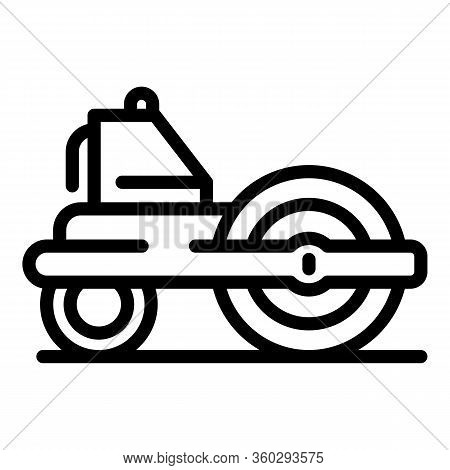 Road Roller Equipment Icon. Outline Road Roller Equipment Vector Icon For Web Design Isolated On Whi