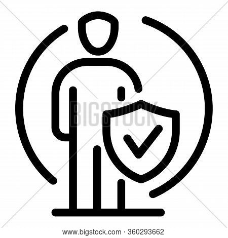 Human Fraud Protection Icon. Outline Human Fraud Protection Vector Icon For Web Design Isolated On W