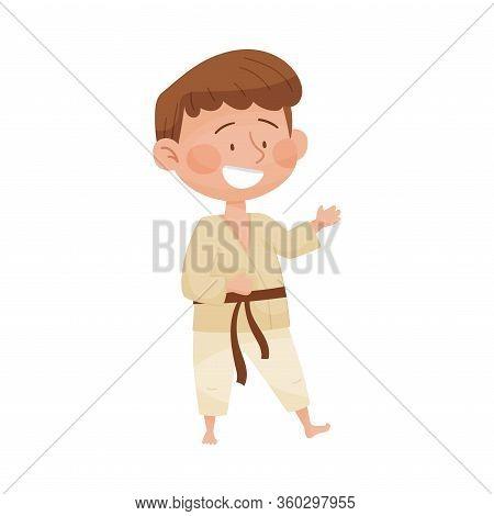 Happy Boy In Sport Wear Doing Karate Vector Illustration