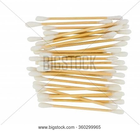 White Cotton Swabs Isolated On White Background