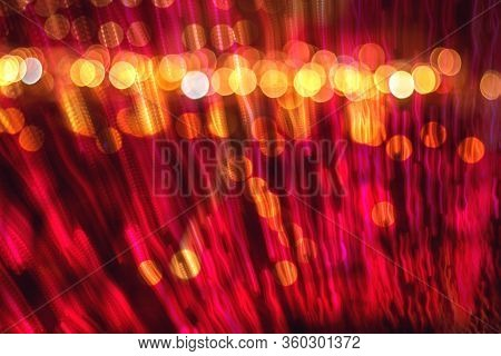 Abstract Blurred Speed Motion Toward The Light, Multi-colored Light Background With Defocused Bokeh