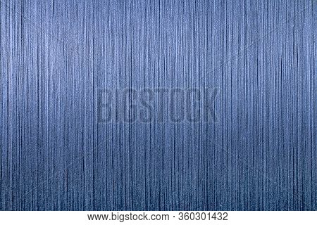 Blue Cotton Thread From Weaving Machine, Indigo Dyed Yarn Woven Background,