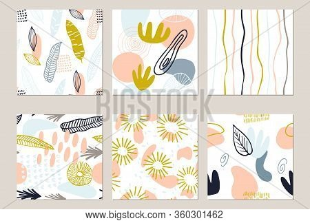 Abstract Pattern Set With Organic Shapes In Pastel Colors Yellow, Pink. Organic Background With Spot