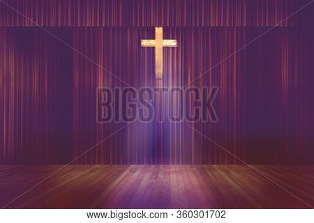 Wooden Cross On Curtain Background In Small Church