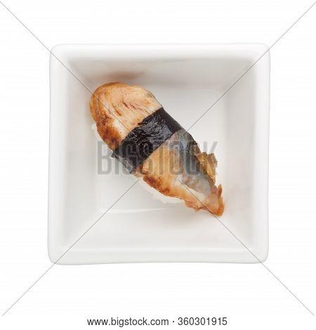 Sushi - Grilled Unagi Nigiri In A Square Bowl Isolated On White Background