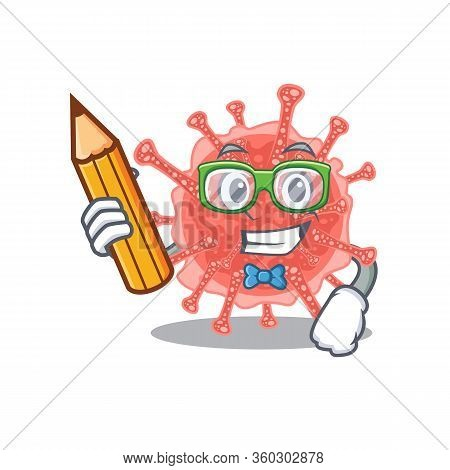 A Brainy Student Oncovirus Cartoon Character With Pencil And Glasses