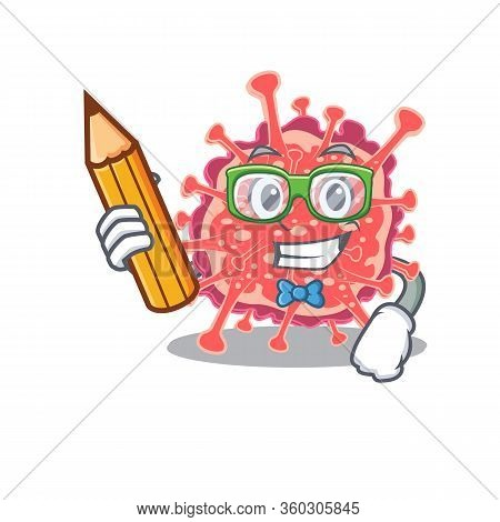 A Brainy Student Polyploviricotina Cartoon Character With Pencil And Glasses