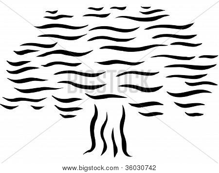 Drawing Of A Tree With Waves