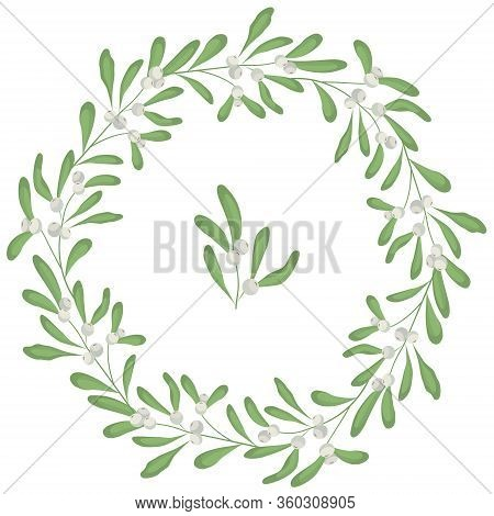 Floral Mistletoe Frame; Round Wreath With White Mistletoe For Greeting Cards, Invitations, Wedding C