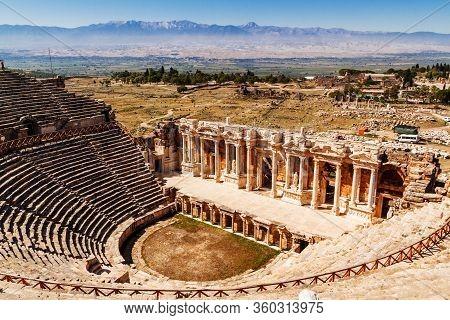 Pamukkale, Denizli / Turkey Ancient -september 24 2019: Roman Amphitheatre In Hierapolis.