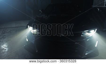 Tomsk, Russia - March 30, 2020: Chevrolet Camaro Zl1 The Exorcist Headlight Close-up Front View