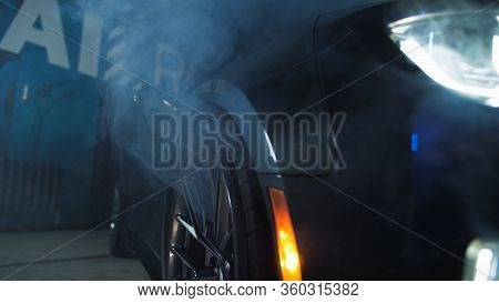 Tomsk, Russia - March 30, 2020: Chevrolet Camaro Zl1 The Exorcist Smoke Coming From Under The Wing C