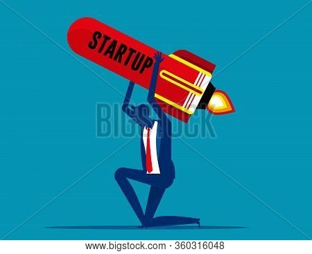 Man Carries Rocket. Business Startup Concept, Failed Unsuccessful