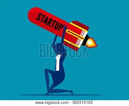 Woman Carries Rocket. Business Startup Concept, Failed Unsuccessful