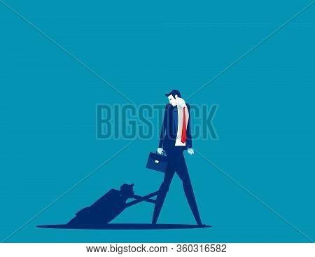 Obstacles In The Next Step. Shadow Hand Pulling Concept. Flat Cartoon Vector Illustration Design.