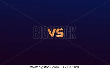 Orange Polygonal Versus Logo Vs Letters For Sports And Fight Competition. Battle Vs Match, Game Conc
