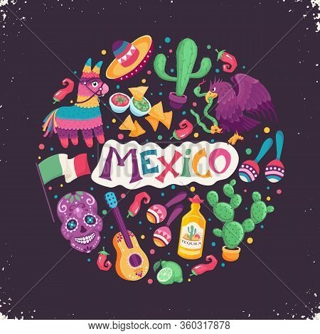 Mexico Poster In Circle Shape. Mexican Culture Attributes Collection. Guitar, Sombrero, Maracas, Cac
