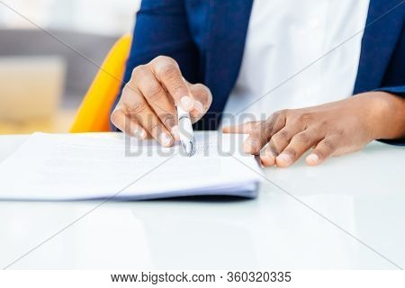 Cropped Shot Of Business People Working With Contract. Close-up Partial View Of Professional Busines