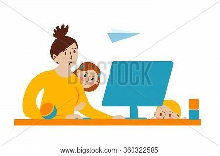 Tired Mother Works On Computer. Children Are Naughty. Stay Home. Quarantine Social Distancing Period