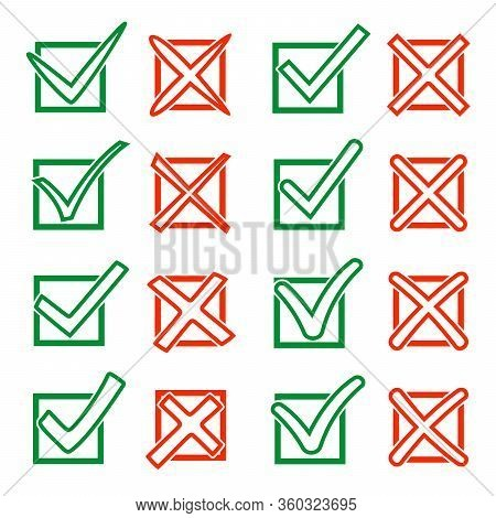 Contour Green Hook V And Red Cross X In Checkbox. Yes No Icons For Highlight Selection. Vector Illus