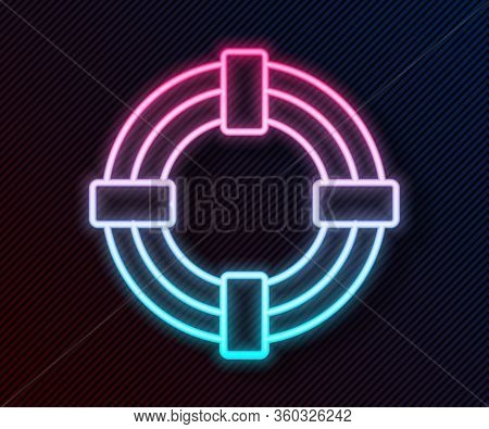 Glowing Neon Line Lifebuoy Icon Isolated On Black Background. Life Saving Floating Lifebuoy For Beac