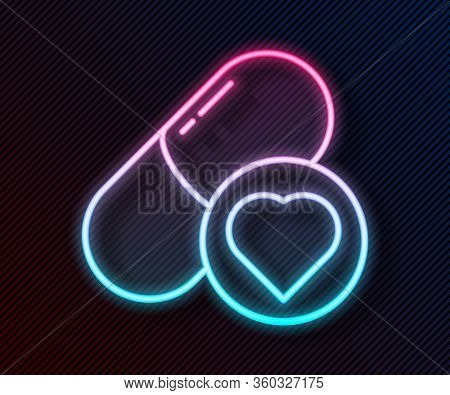 Glowing Neon Line Pills For Potency, Aphrodisiac Icon Isolated On Black Background. Sex Pills For Me