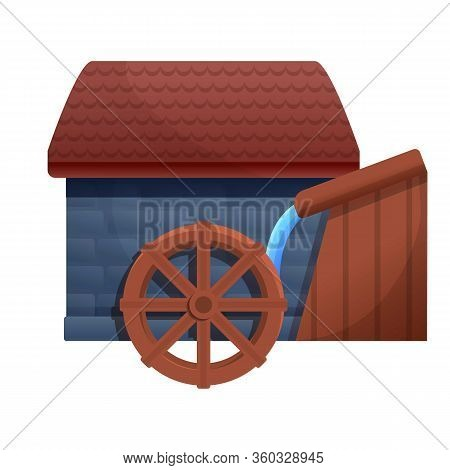Farm Water Mill Icon. Cartoon Of Farm Water Mill Vector Icon For Web Design Isolated On White Backgr