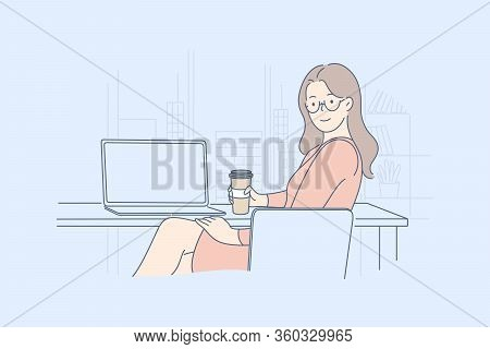 Businesswoman Manager In Office, Lunch, Leisure Concept. Young Happy Businesswoman Or Girl Clerk Man