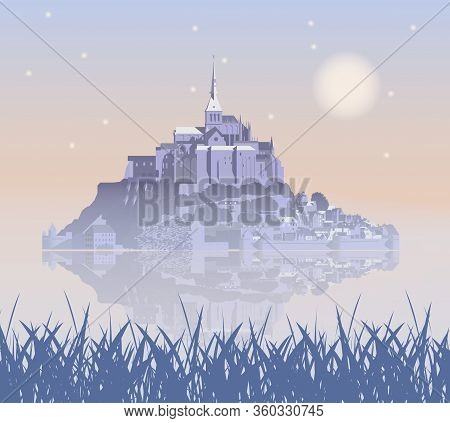 Mont Saint-michel Abbey In The Fog, France. Vector Illustration Eps10