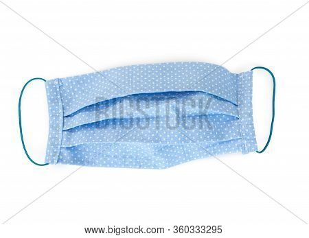 Handmade Multicolored Fabric Reusable Protective Medical Mask Isolated On White Background. Coronavi