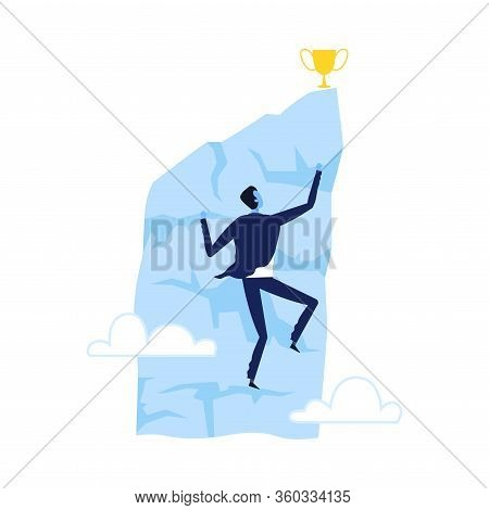 Successful Businessman Climbing Wall Towards Goal, Leadership Competition, Challenge, Overcoming Obs