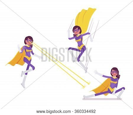Female Super Hero In Attractive Costume And Cloak Jumping, Attacking. Effective Wonder Warrior, Supe