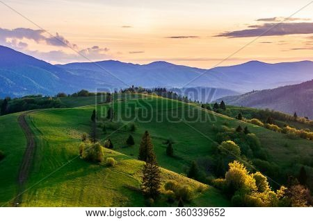 Mountainous Countryside In Springtime At Dusk. Path Trees On The Rolling Hills. Ridge In The Distanc