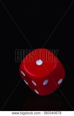 Red Dice On The Black Background. Playing Dice At Black  Background. Playing A Game With Dice. Risk