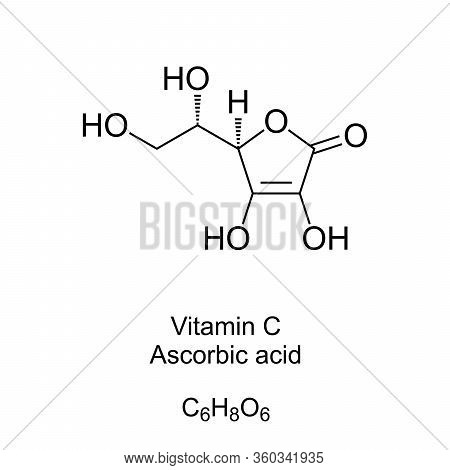 Vitamin C Skeletal Formula And Molecular Structure. Ascorbic Acid, Also Known As Ascorbate, A Vitami